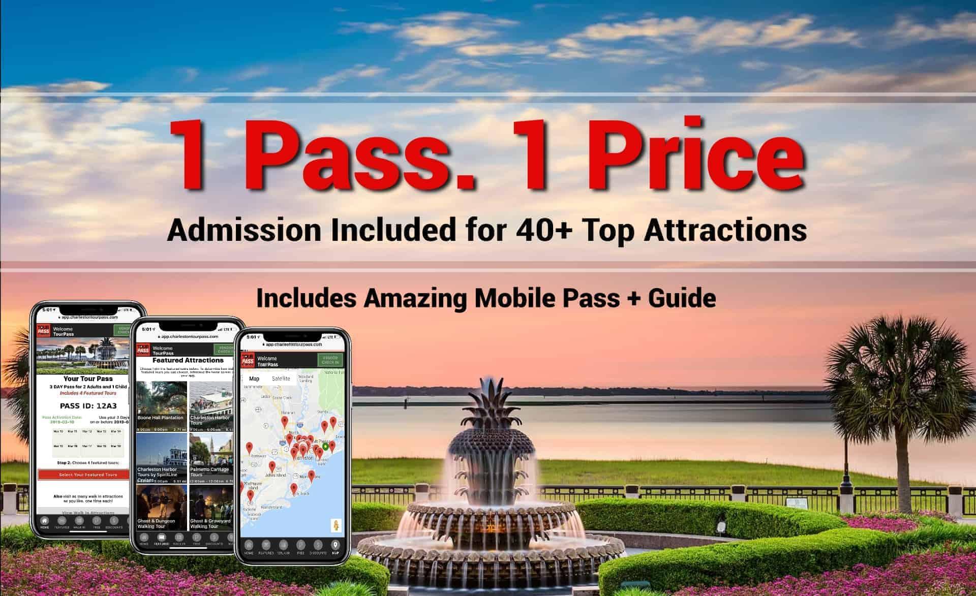 tour pass charleston . 1 pass. 1 price